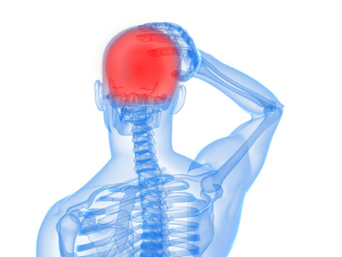 Illustration pointing to head pain